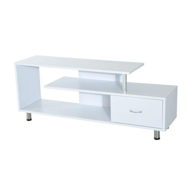 HOMCOM Meuble TV design contemporain multi rangements 152L x 40l x 61H cm blanc neuf 89WT