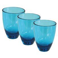 Incasa - Pack 3 verres Massa bleu 18 cl