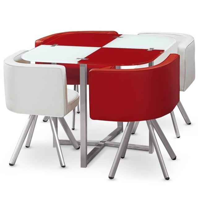 Ensemble Table de repas avec 4 chaises Design Malaga Rouge & Blanc