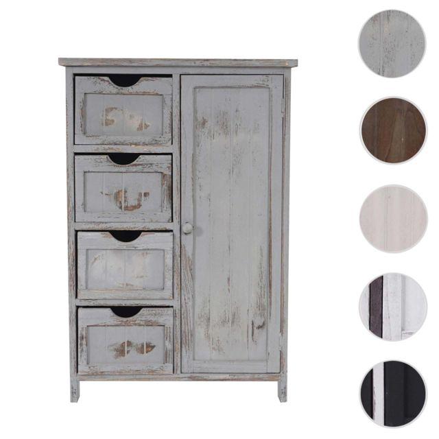 Mendler Commode / armoire, 82x55x30cm, shabby chic, vintage ~ gris
