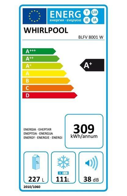 Whirlpool Réfrigérateur congélateur combiné BLFV8001W Consommation 309 kWh/an, Dégivrage manuel, Volume utile Réfrigérateur 227L/Congélateur 111L, Classe climatique N.T., Niveau sonore 38 dB (A)