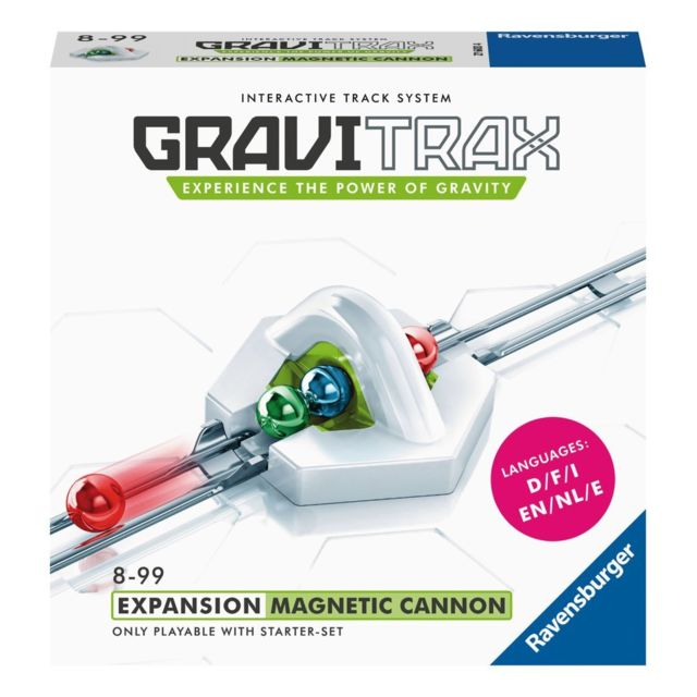 Ravensburger GraviTrax® - Canon magnétique - 27600 Encore plus d'énergie pour tes circuits ! Grâce au canon magnétique, surmonte les différences de niveau avec brio et envoie ta bille encore plus loin.Combine le canon magnétique avec ton starter set de dé