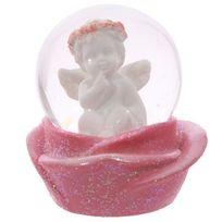 Sans Marque - Boule à neige - Chérubin reflechi et rose 6 cm