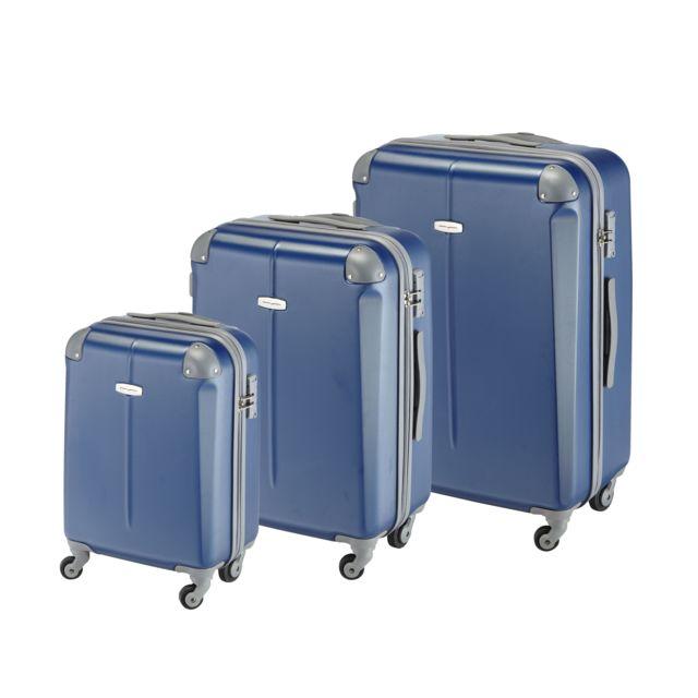 CARREFOUR - Lot de 3 valises ABS 4 roues - Marine - ABS4W17-02