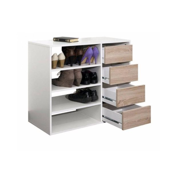 Inside 75 Meuble à chaussures Mirage blanc design 4 tiroirs chêne