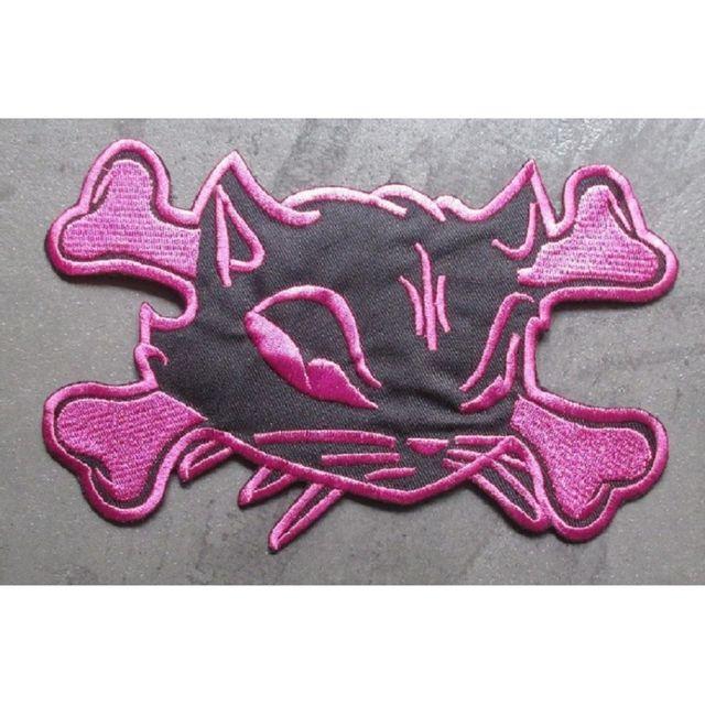 Universel gros patch chat pirate noir et rose dos 19,5cm ecusson pinup
