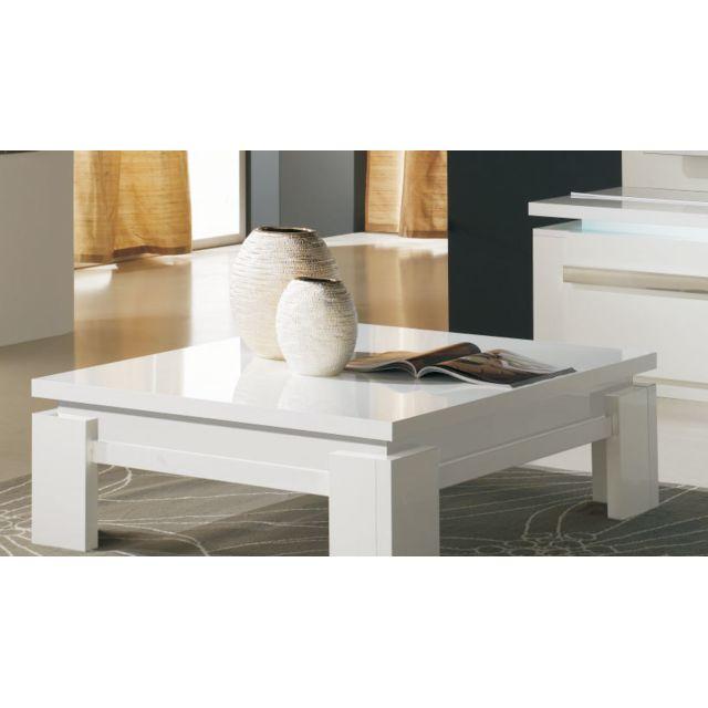 Sofamobili Table basse carrée blanc laqué design Alice