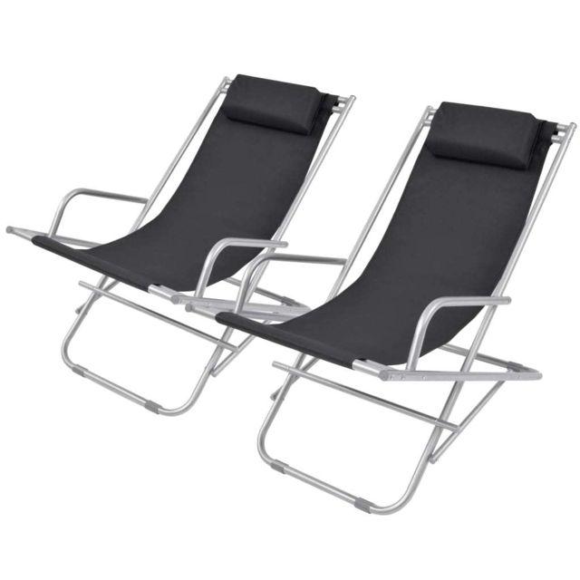 Esthetique Sièges d'extérieur famille Luxembourg Chaise inclinable de terrasse 2 pcs Noir Acier 69 x 61 x 94 cm