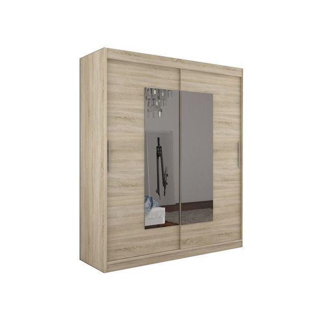 comforium armoire contemporaine 2 portes coulissantes 180 cm coloris sonoma pas cher achat. Black Bedroom Furniture Sets. Home Design Ideas