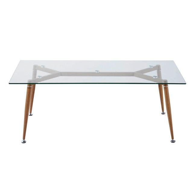 HOMCOM Table basse rectangulaire style scandinave contemporain 120 x 60 x 45 cm verre trempé 8 mm neuf 84