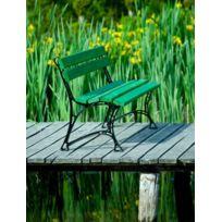 Garden - Banc de jardin vert en bois et aluminium 150cm
