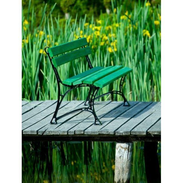Garden Banc de jardin vert en bois et aluminium 150cm