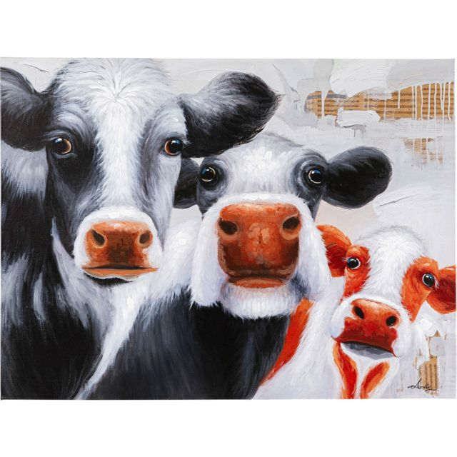 Karedesign Tableau Touched vaches 120x90cm Kare Design