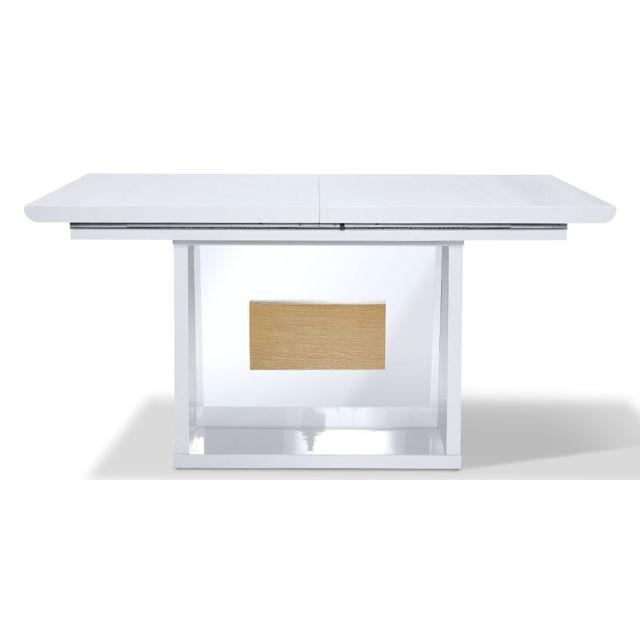 La Maison Du CanapÉ Table à manger extensible bois/laqué Mandy- Chêne/Blanc - Blanc