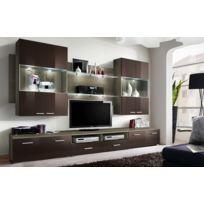 Asm-mdlt - Ensemble meuble Tv mural Space en chêne et marron de haute brillance avec Led