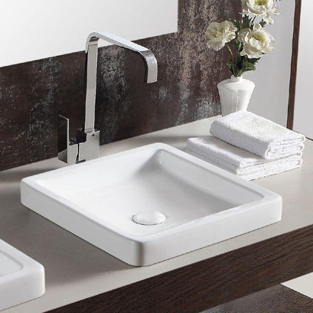 vasque carree Rue Du Bain - Vasque semi-encastrée carrée céramique blanche - 40x40 cm -  Temp