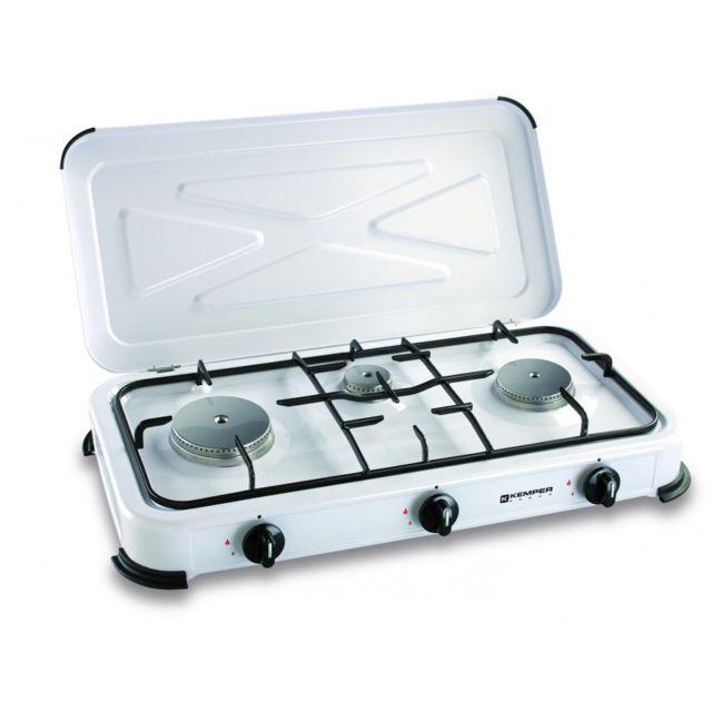 kemper plaque de cuisson 3 feux 3450w gaz butane ou propane pas cher achat vente r chaud. Black Bedroom Furniture Sets. Home Design Ideas