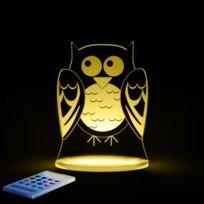 Aloka - Chouette-lampe-veilleuse Led H17cm Transparent