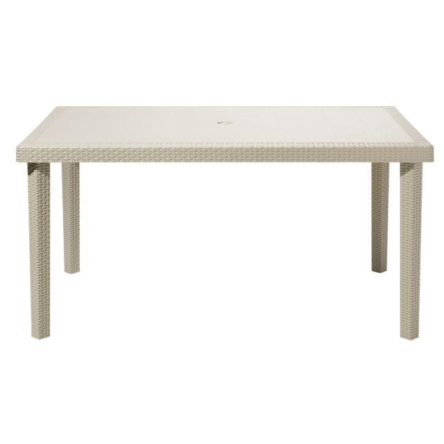 MARQUE GENERIQUE - Table de jardin BOHEME - Plastique - Jute - pas ...