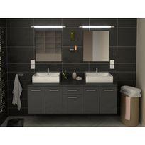Meuble de salle de bain double vasque 150 cm Gris Olivia - L 150 x l 46 x H  53