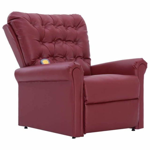 Helloshop26 Fauteuil électrique de massage confort relaxant massant détente rouge bordeaux similicuir 1702061