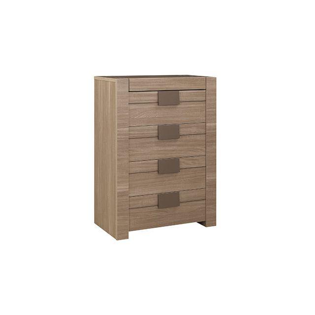 Commode 4 tiroirs décor chêne - Agathe