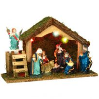 Eminza - Crèche de Noël Lumineuse 8 santons