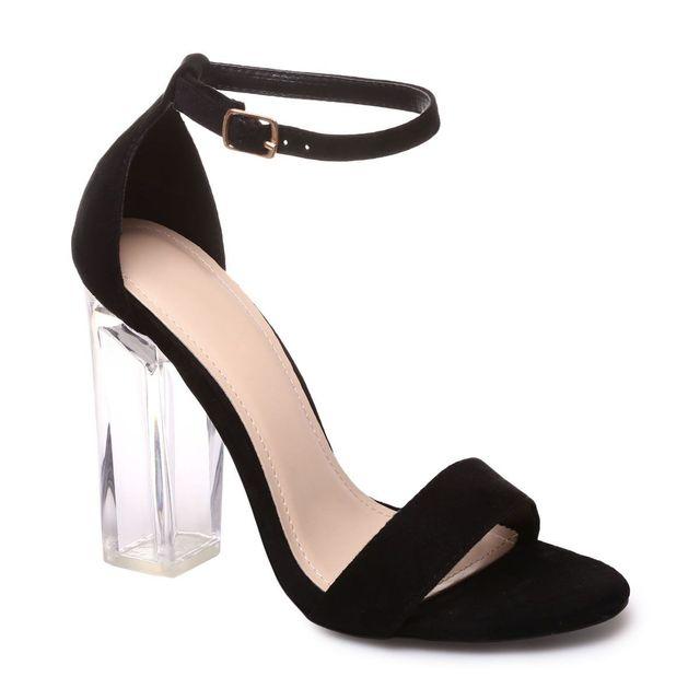 Lamodeuse Sandales noires à talon carré transparent pas
