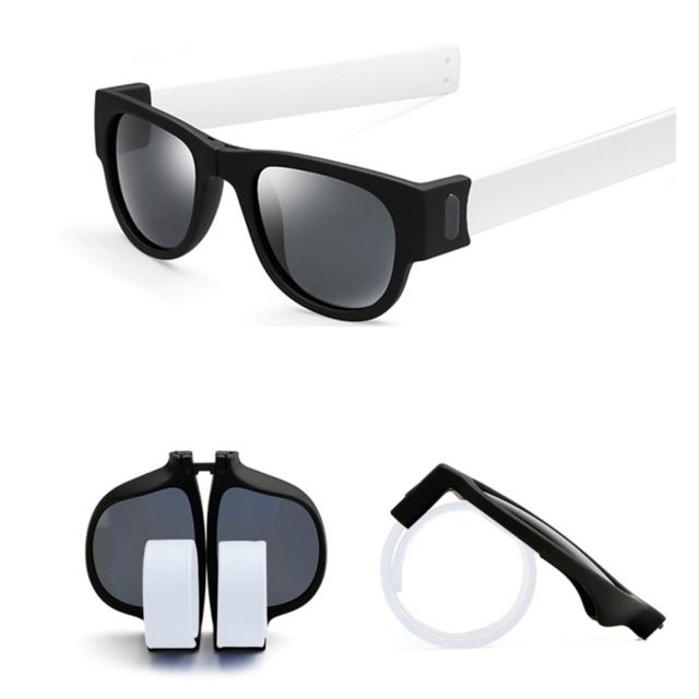 Wewoo - Lunettes de soleil blanc pour Hommes   Femmes Mode Crimp Pliant  Miroir Pops Polarized edebf9fc17bc