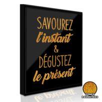 Sudtrading - Cadre imprimé Paillette - 21 x 26 cm - Savourez l'instant
