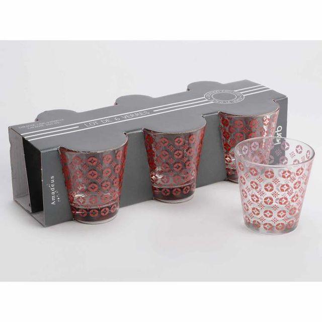 Amadeus Coffret de 6 verres à eau transparents 250 ml Marsala - Rouge