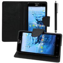 Vcomp - Housse Coque Etui portefeuille Support Video Livre rabat cuir Pu effet tissu pour Acer Liquid Z520 + stylet - Noir