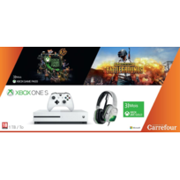 Xbox One S 1To Abonnement 3 mois & Game Pass + Jeu PUBG + Casque LVL 5 Blanc