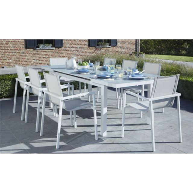 Wilsa - Salon de jardin en aluminium Whitestar 6 ou 8 Fauteuils Avec ...