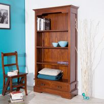 Haveli Republic - Bibliothèque 2 tiroirs 4 niches en bois L98xH180cm Freesia