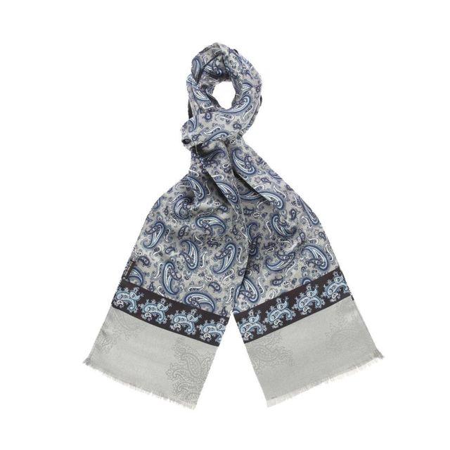 efc93bc0c302 Touche Finale - Echarpe en soie grise à motifs cachemires bleus - pas cher  Achat   Vente Echarpes - RueDuCommerce