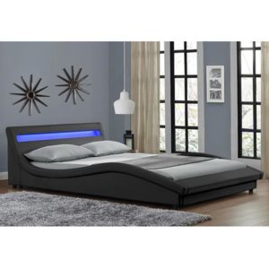 envie de meubles lit leds simili cuir noir ola 160x200 pas cher achat vente structures. Black Bedroom Furniture Sets. Home Design Ideas