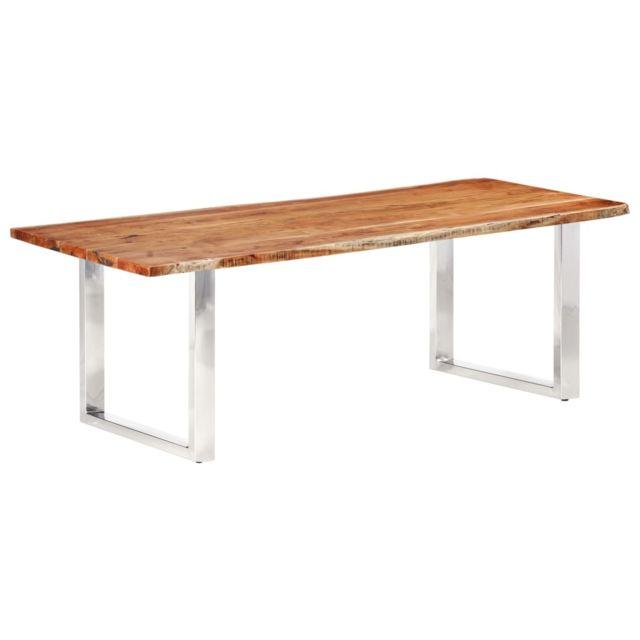 Uco Table à dîner à live edge Bois d'acacia massif 220 cm 3,8 cm