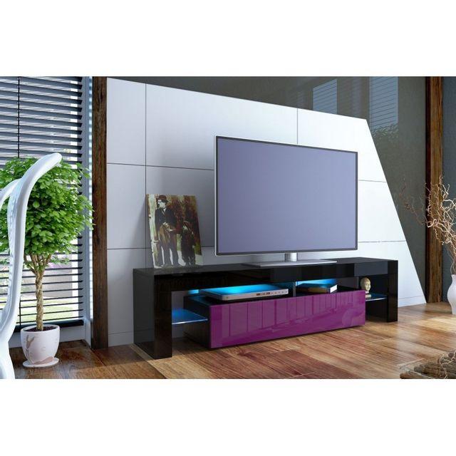 Mpc Meuble tv design laqué noir et violet sans led