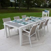 table jardin alu verre - Achat table jardin alu verre pas cher - Rue ...
