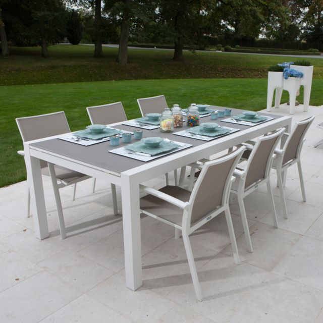 Table alu blanc et verre gris 220/330x106 cm Murray