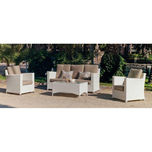 HEVEA JARDIN Canapé 3 places + 2 fauteuils + 1 table basse - résine blanche