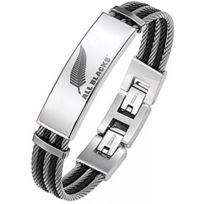 All Blacks Bijoux - Bracelet All Blacks 682049 - Bracelet Acier Ronde Homme