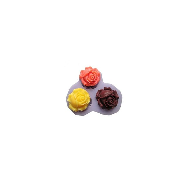 Alpexe Moule de Cuisson 3 Roses Fleur Pour Gâteau Pour Cookie Pour Tarte Silikon Ecologique