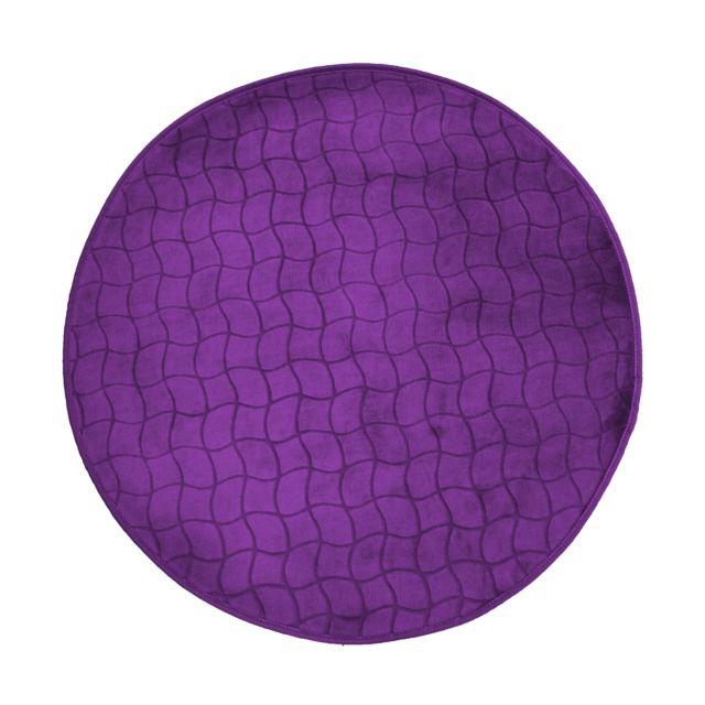 Linge Des Domes Cdaffaires Tapis rond 0, 90 cm velours uni tomette Prune