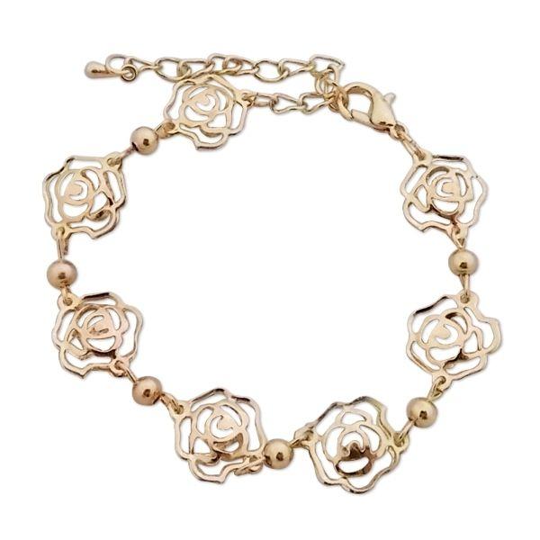 Totalcadeau - Bracelet aux 7 roses dorées et faux cristaux transparents bijou  fantaisie pas cher Acier 37f76dcb6633