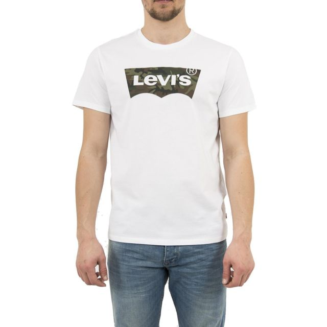 76a74c6d01783 Levi s - Tee shirt levis 22489 housemark graphic tee blanc - pas ...