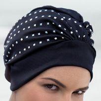 Fashy - Bonnet de bain femme en tissu clouté imperméable avec scratch réglable