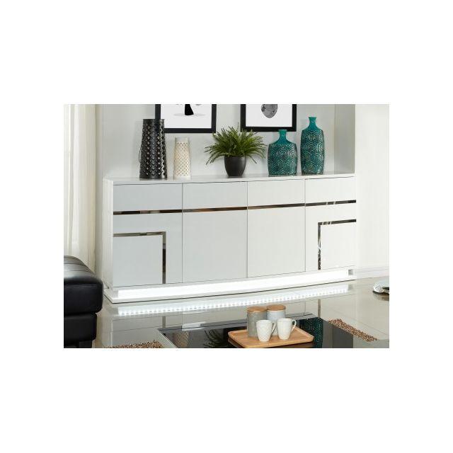 Marque Generique Buffet Luminescence - Mdf laqué blanc et Leds - 4 portes