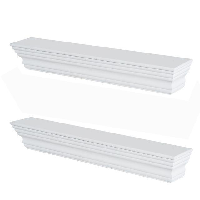 HOMCOM Lot de 2 étagères murales flottantes design moderne kit fixation fourni 61 x 10 x 9 cm bois blanc neuf 32